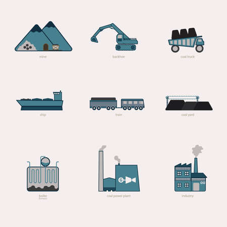 produce: coal energy, produce, user simple icon