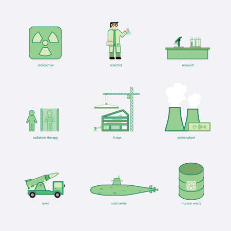 nuke plant: nuclear energy for use in simple icon Illustration