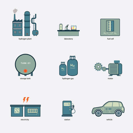 hydrogen: hydrogen to electric energy by fuel cell in simple icon Illustration