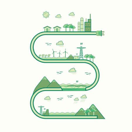 high voltage current: renewable energy graphic line 2 Illustration
