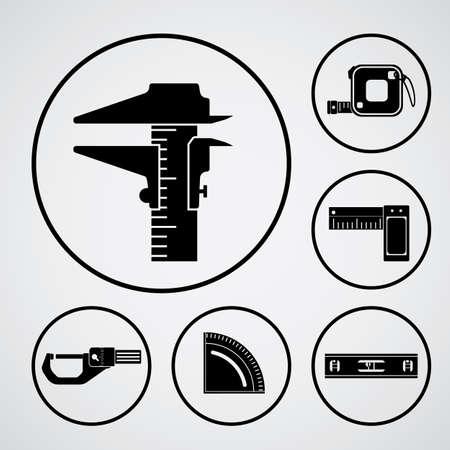 vernier: measurement black icon Illustration