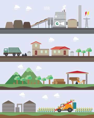 grafisch biomassa-energie Stock Illustratie