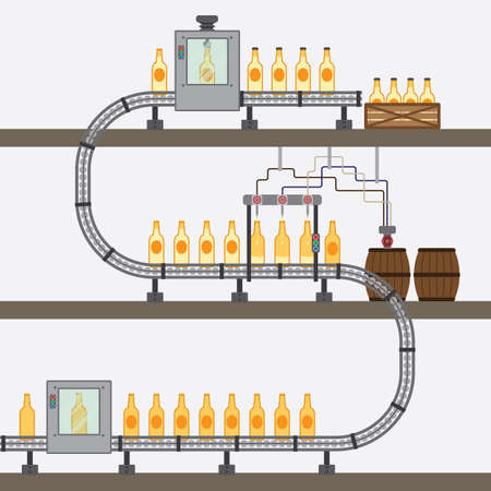 conveyor system: beer factory simple graphic Illustration