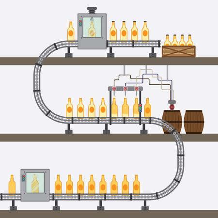 cinta transportadora: fábrica de cerveza gráfico simple Vectores