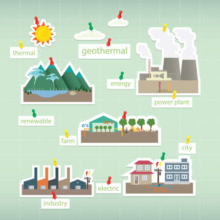 geothermal: geothermal paper icon on board Illustration