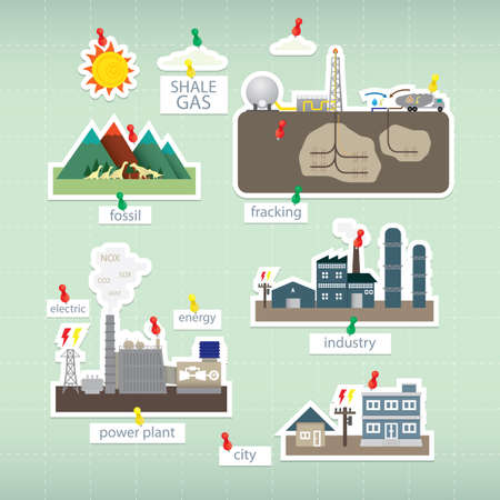 fracturing: shale gas paper icon on board