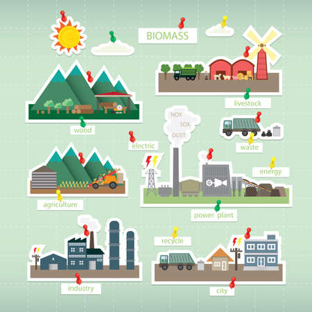 biomass paper icon on board Illustration