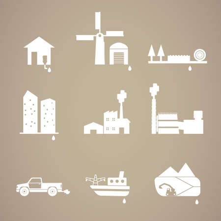 clean water: pollution and waste white icon Illustration