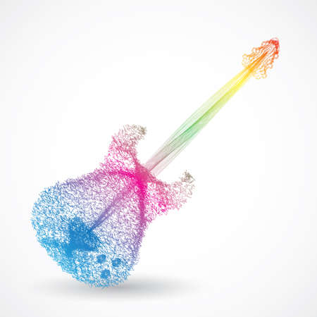 instrument cable: guitar abstract colorful Illustration