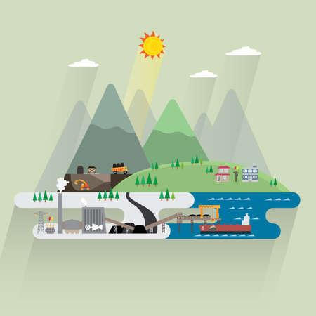 steenkool energie Vector Illustratie