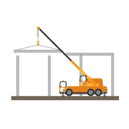 moving site: lifting steel by crane Illustration