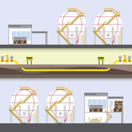 gas pipeline network Illustration