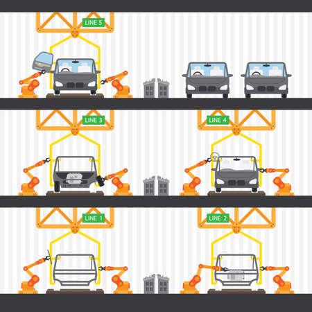 car factory Vektorové ilustrace