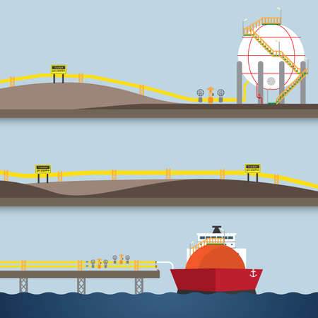loading gas from ship Illustration