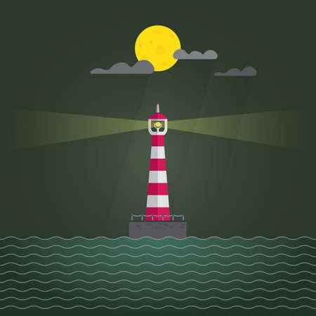 lighthouse at night: lighthouse night Illustration