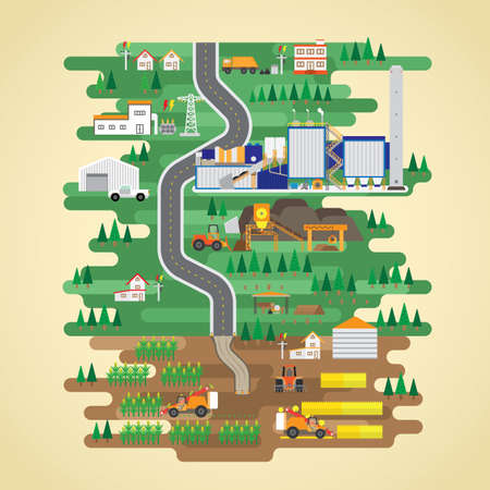 biomass: biomass energy in flat design Illustration