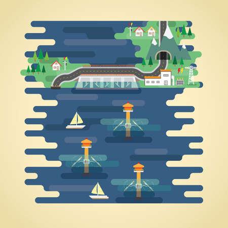 tidal energy in flat design