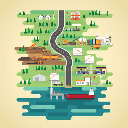shale oil energy in flat design