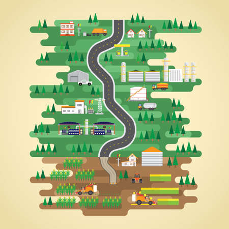 bio fuel: bio fuel energy in flat design