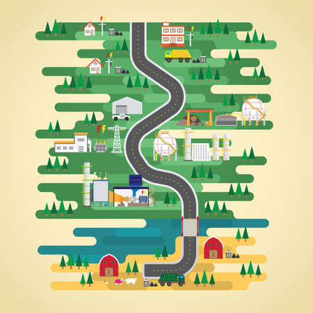 landfill gas energy  in flat design