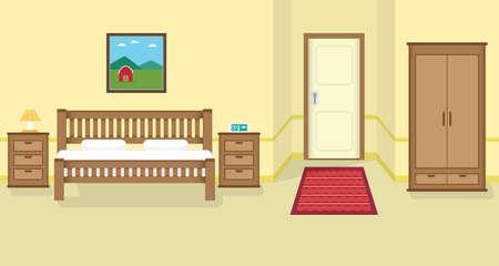 bed room: bed room flat design Illustration