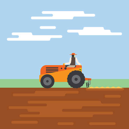 tractor clear the land Illustration