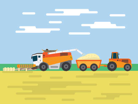 tractor harvest wheat field