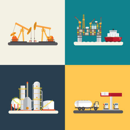 oil industry, oil rig, refinery, off shore and gas station Illustration