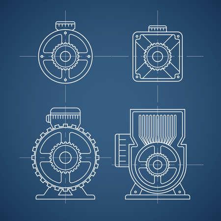 전기 모터 라인 아이콘