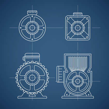 electric motor line icon