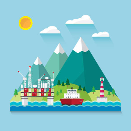 oil industry off shore in flat design Illustration