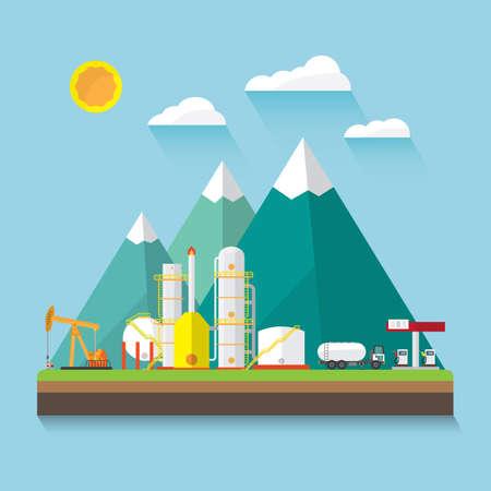 oil industry on shore in flat design Illustration