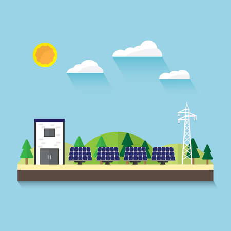 solar cell: solar cell in flat design