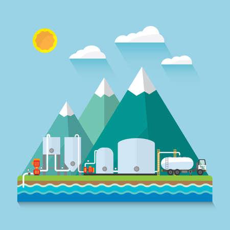 aguas residuales: Planta de tratamiento de agua  Vectores