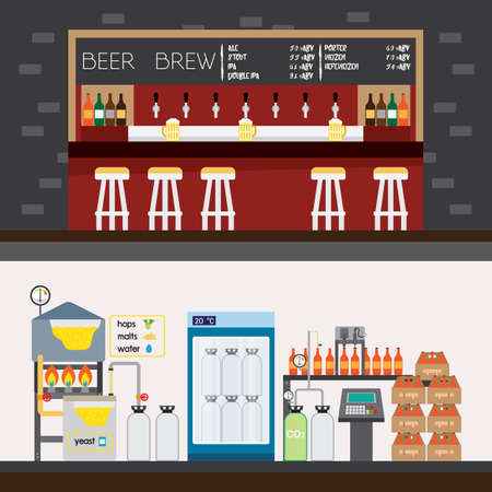 beer factory and bar Illustration