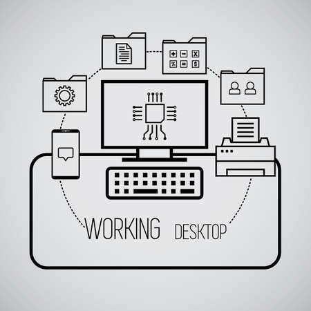 desktop working simple graphic Illustration