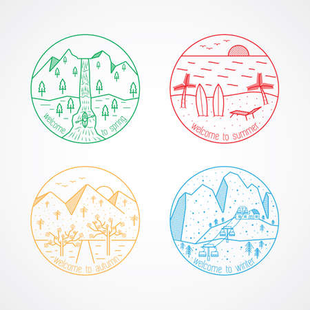 four season icon Illustration