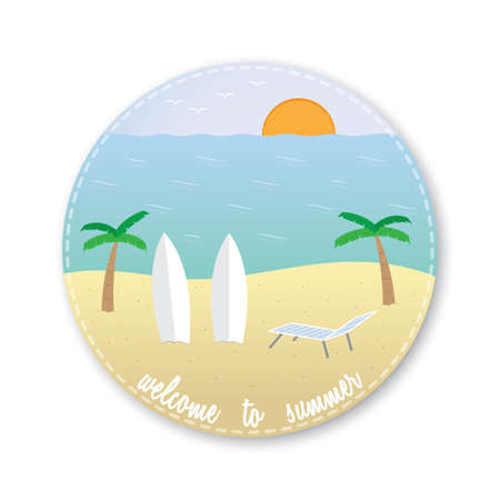 welcome to summer icon Illustration
