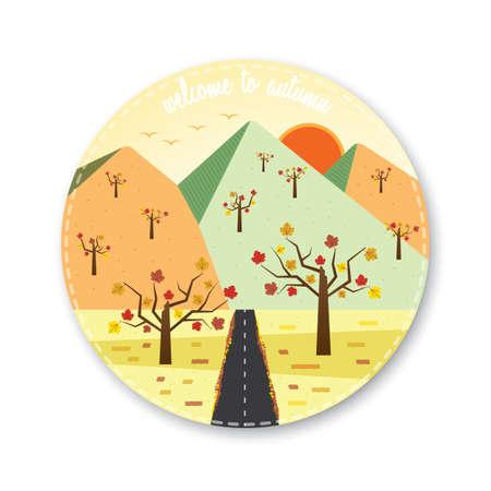 welcome to autumn icon in mountain scene Illustration