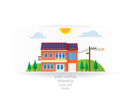 the house with solar rooftop paper graphic Illustration