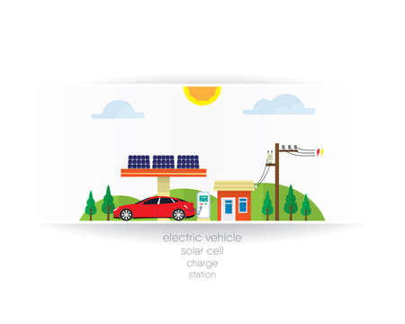 ev station with solar cell system Illustration
