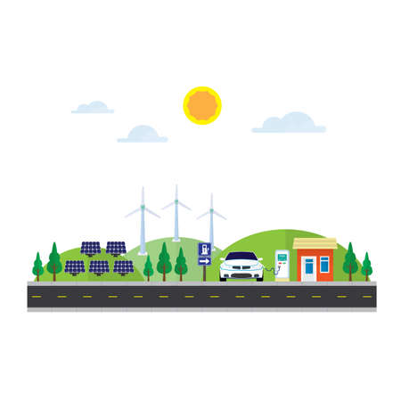 electric energy with solar cell and wind turbine for ev station Illustration