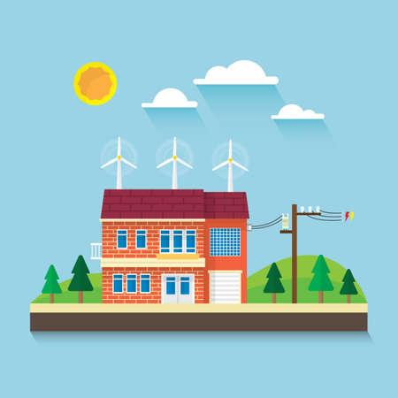 wind turbine on roof Illustration