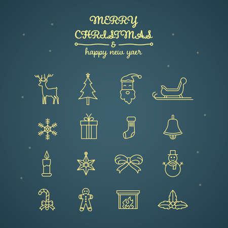 Set of Christmas icons Illustration