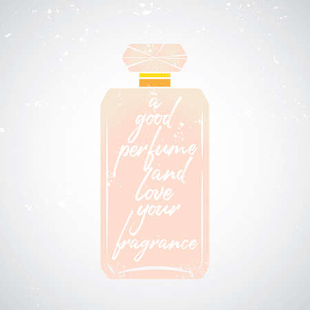 bottle perfume with text handdraw