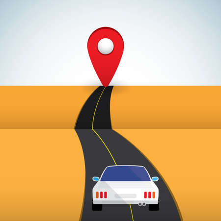 car on the road with GPS Illustration
