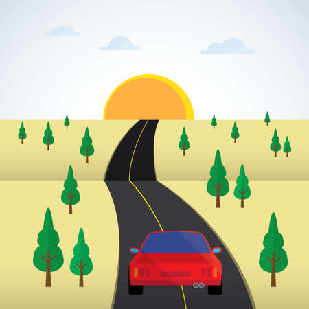 drive car on the road Illustration