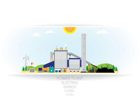 storage facility: coal energy on white paper background
