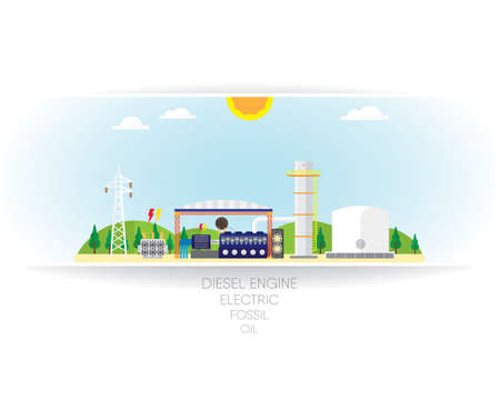 diesel engine: oil energy with diesel engine generate the electric Illustration