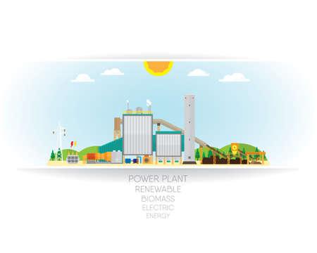 steam turbine: biomass power plant, biomass energy with steam turbine generate the electric Illustration